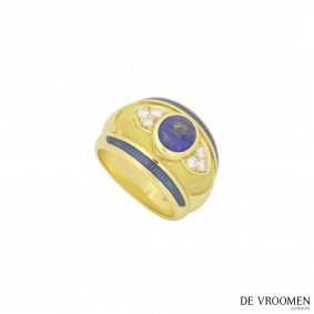 De Vroomen Diamond And Sapphire Ring
